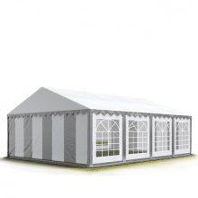 TP Professzionális 5x8 nehéz acél rendezvény sátor 500G/M2 SZÜRKE-FEHÉR TŰZÁLLÓ PONYVÁVAL