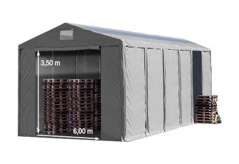 Vario raktársátor 8x12m - 3,6m oldalmagassággal, tetőablakkal-bejárat típusa: standard