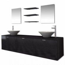 10 részes fürdőszoba bútor szett fekete színben csapteleppel