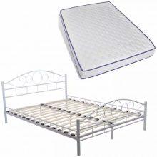 "Fém ágy 140x200 cm ""V2"", memóriahabos matraccal, fehér színben"