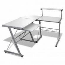 Fém számítógépasztal/munkaállomás, fehér színben