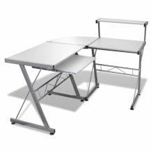 VID Fém számítógépasztal/munkaállomás, fehér színben