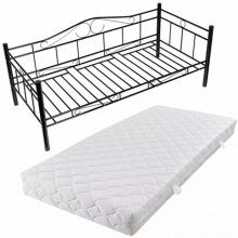 """Fém ágy 90x200 cm """"V4"""", matraccal, fekete színben"""