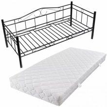 """VID Fém ágy 90x200 cm """"V4"""", matraccal, fekete színben"""