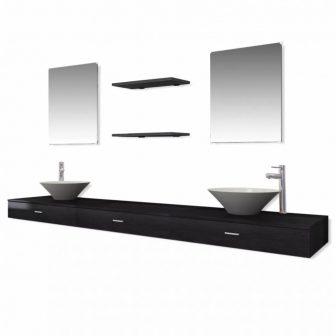 9 részes fürdőszoba bútor szett fekete színben csapteleppel - Discontmania.hu