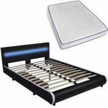 """PU bőr ágy 140x200 cm """"V11"""" memóriahabos matraccal, LED világítással, ágyneműtartóval, fekete színben"""