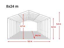 Vario raktársátor 8x24m - 4m oldalmagassággal, tetőablakkal-bejárat típusa: eltolható