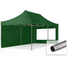 Professional összecsukható sátrak PREMIUM 350g/m2 ponyvával, acélszerkezettel, 2 oldalfallal, panoráma ablakkal - 3x6m zöld
