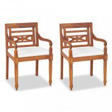 VID 2 db tömör tíkfa Batavia szék párnával