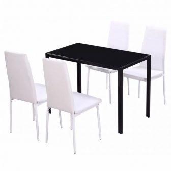 VID 5 darabos étkező asztal szett fekete és fehér