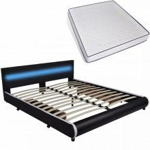 """PU bőr ágy 180x200 cm """"V11"""" memóriahabos matraccal, LED világítással, ágyneműtartóval, fekete színben"""