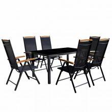 7 részes fekete alumínium kerti bútor szett