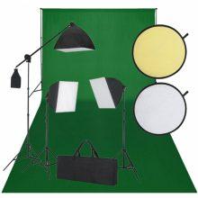 Stúdió felszerelés - Zöld háttérvászon, 3 db softbox, 1 db reflektor