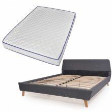 VID Kárpitozott ágy ágyráccsal, memóriahabos matraccal, 140x200 cm, sötétszürke színben