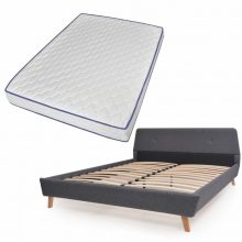 VID Kárpitozott ágy ágyráccsal, memóriahabos matraccal, 140x200 cm, sötétszürke színben 722893