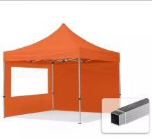 Professional összecsukható sátrak ECO 300 g/m2 ponyvával, alumínium szerkezettel, 2 oldalfallal - 3x3m narancssárga