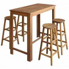 VID 5 részes tömör akácfa bárasztal és bárszék garnitúra