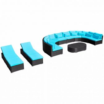 VID Kerti rattan kanapé napozóágyakkal Trópusi kék