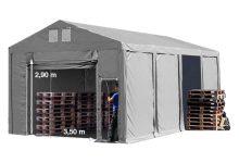 Vario raktársátor 6x8m - 3m oldalmagassággal-bejárat típusa: felhúzható