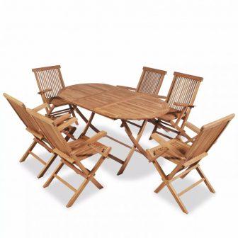 VID 6 személyes - 7 részes kerti garnitúra trópusi keményfából-kihúzható asztallal