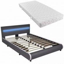 """PU bőr ágy 140x200 cm """"V11"""" matraccal, LED világítással, ágyneműtartóval, szürke színben"""