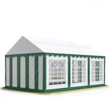 TP Professional deluxe 4x6m nehéz acélkonstrukciós rendezvénysátor erősített tetőszerkezettel fehér-zöld