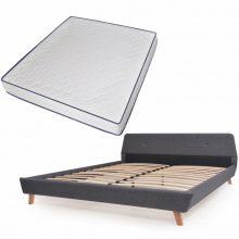 VID Kárpitozott ágy ágyráccsal, memóriahabos matraccal, 180x200 cm, sötétszürke színben 730493