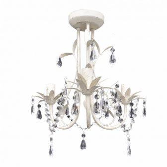 VID Mennyezeti kristály függő 3 izzós lámpa Antik fehér