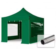 Professional összecsukható sátrak PREMIUM 350g/m2 ponyvával, acélszerkezettel, 4 oldalfallal, panoráma ablakkal - 3x3m zöld