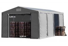 Vario raktársátor 8x12m - 4m oldalmagassággal, tetőtablakkal-bejárat típusa: standard