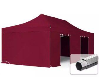 Professional összecsukható sátrak PROFESSIONAL 400g/m2 ponyvával, alumínium szerkezettel, 4 oldalfallal, ablak nélkül - 4x8m bordó