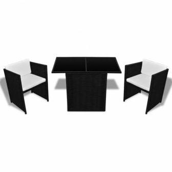 VID 2 személyes 7 részes kerti bútor szett fekete színben 735183