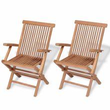 VID 2 db összecsukható tömör tíkfa kerti szék