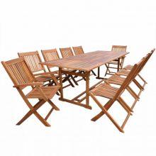 10 személyes - 11 részes kerti fa garnitúra - 220 cm asztallal