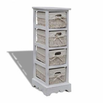 VID 4 polcos szekrény fonott kosár tárolókkal
