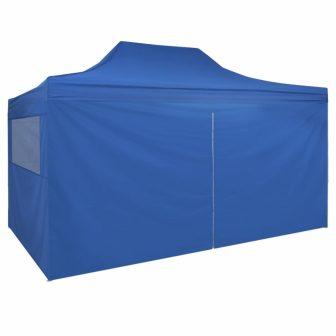VID 3x4,5 m Pavilonsátor 4 oldalfallal kék színben