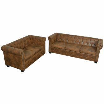 VID Barna chesterfield két+háromszemélyes műbőr kanapé