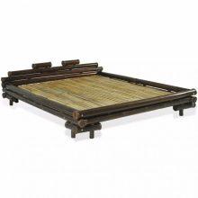 """VID Sötétbarna bambusz ágykeret 180x200 cm """"V03"""", bambusz ágyráccsal"""