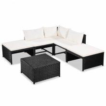 VID15 darabos fekete-krémfehér kerti polyrattan ülőgarnitúra