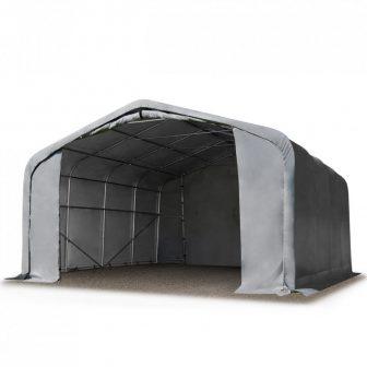Ponyvagarázs/ sátorgarázs / tároló 5x8m-2,7m oldalmagasság, PVC 550g/nm kapuméret: 4,1x2,5m szürke színben