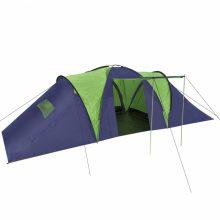 Poliészter kemping sátor 9 személyes zöld-sötétkék színben