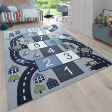 Gyerekszoba szőnyeg - szürke színekben - játékos utakkal - több választható méretben