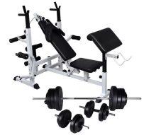 VID súlyzópad állvánnyal, egykezes és kétkezes súlyzószettel 60,5 kg 763660