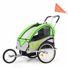 VID 2 az 1-ben zöld/szürke kerékpár utánfutó és babakocsi