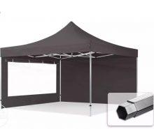 Professional összecsukható sátrak PROFESSIONAL 400g/m2 ponyvával, alumínium szerkezettel, 2 oldalfallal, panoráma ablakkal - 4x4m sötétszürke