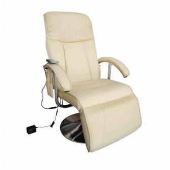 VID Elektromos krémfehér masszázsfotel/ tv fotel
