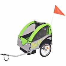 Gyerekszállító kerékpár utánfutó - 30 kg teherbírással - zöld