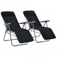 VID 2 db fekete összecsukható kerti szék párnával