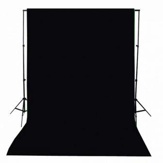 VID Hordozható fekete pamut fotóháttér 300x300 cm