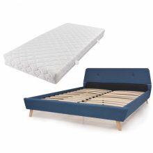 VID Kárpitozott ágy ágyráccsal, matraccal, 160x200 cm, kék színben